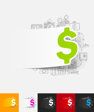 bankroll: hand drawn simple elements with money paper sticker shadow