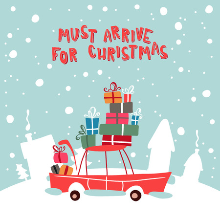 christmass: Christmass Gifts For Children On The Car. Vector Illustration