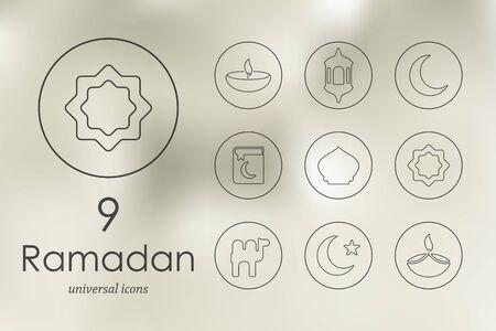 muslim prayer: ramadan modern icons for mobile interface on blurred background