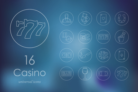 space background: casino modern icons for mobile interface on blurred background