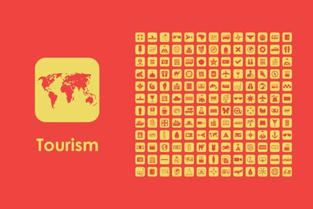information icon: It is a set of tourism simple web icons