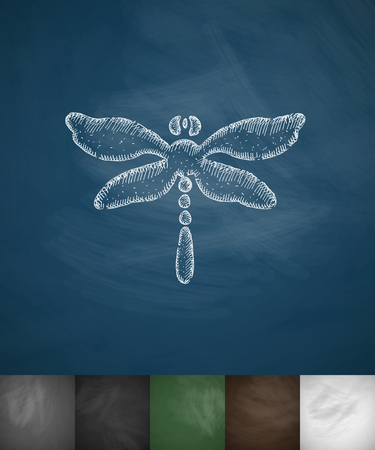 chitin: dragonfly icon. Hand drawn vector illustration. Chalkboard Design