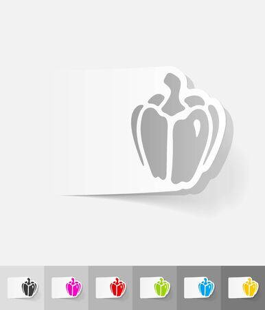 paprika: paprika paper sticker with shadow. Vector illustration