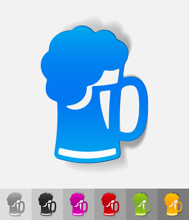 litre: beer paper sticker with shadow. Vector illustration