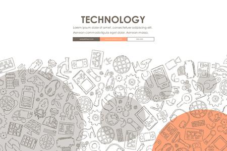 doodle: technology Website Template Design with Doodle Background