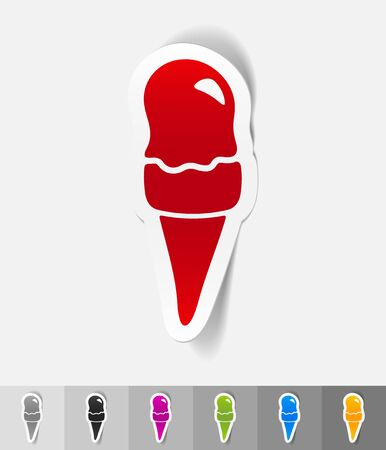 cream paper: ice cream paper sticker with shadow. Vector illustration