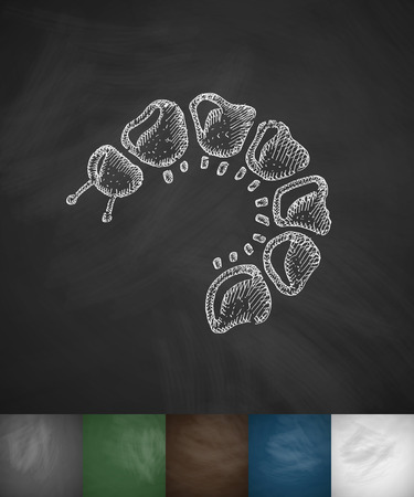 caterpillar icon. Hand drawn vector illustration. Chalkboard Design