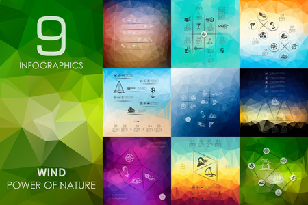 flurry: wind vector infographics with unfocused polygonal background Illustration