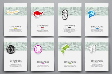 singapore cityscape: Corporate identity vector templates set with doodles Singapore theme. Target marketing concept Illustration
