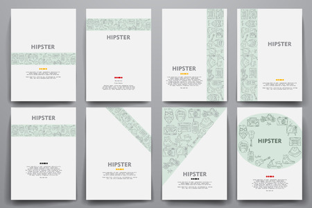 criticism: Corporate identity vector templates set with doodles hipster theme. Target marketing concept