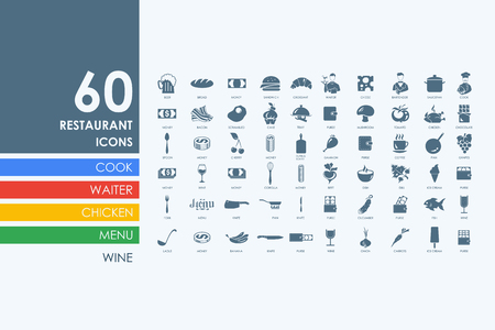 food tray: restaurant vector set of modern simple icons
