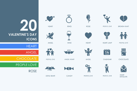 intimacy: Valentines Day vector set of modern simple icons Illustration