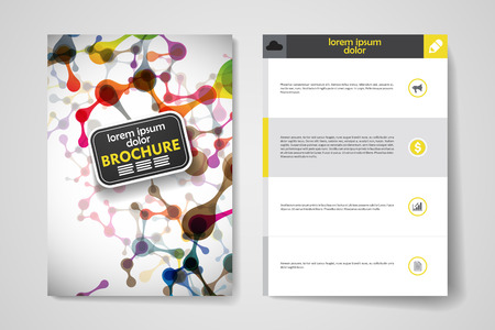 dna: Set of brochure, poster templates in DNA molecule style. Beautiful design and layout Illustration