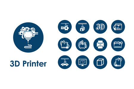 three d: It is a set of three d printer simple web icons Illustration