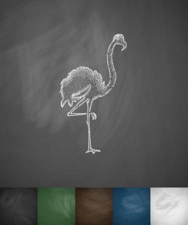 ornithologist: flamingo icon. Hand drawn vector illustration. Chalkboard Design Illustration