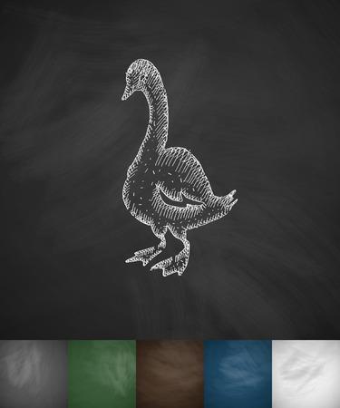goose icon. Hand drawn vector illustration. Chalkboard Design Illustration