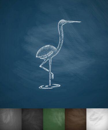 heron icon. Hand drawn vector illustration. Chalkboard Design