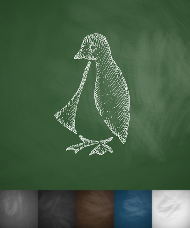 crosshatch: penguin icon. Hand drawn vector illustration. Chalkboard Design Illustration