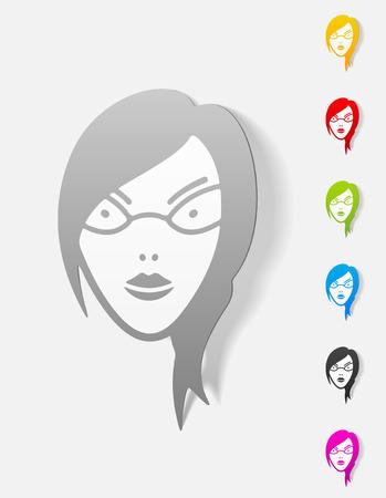 egghead: realistic design element. face girl