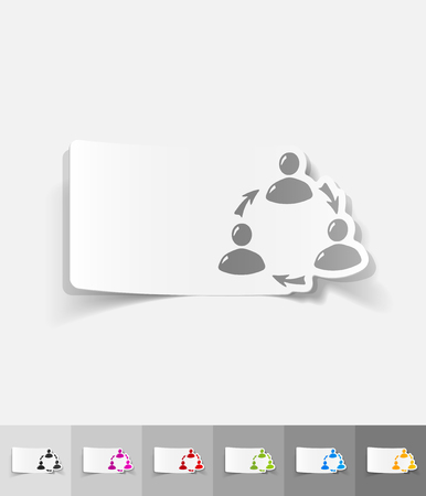 ikon: interaction ikon paper sticker with shadow. Vector illustration Illustration