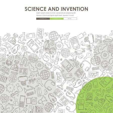 incarnation: invention Website Template Design with Doodle Background Illustration