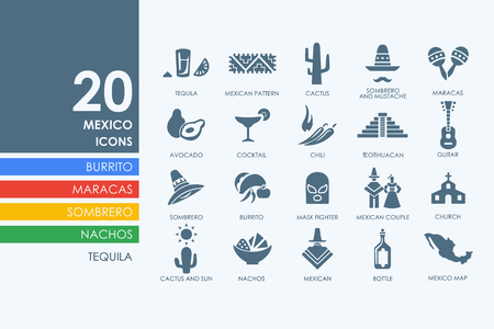 art exhibition: Mexico vector set of modern simple icons