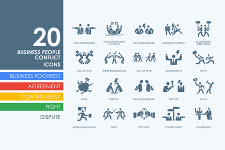 anger abstract: business people conflict vector set of modern simple icons