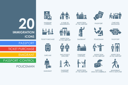 immigration vector set of modern simple icons Stock Illustratie