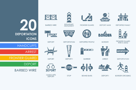 deportation: deportation vector set of modern simple icons