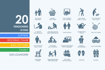 wrinkle: pensioners vector set of modern simple icons Illustration