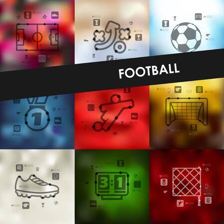 unfocused: football timeline presentations with blurred unfocused background Illustration