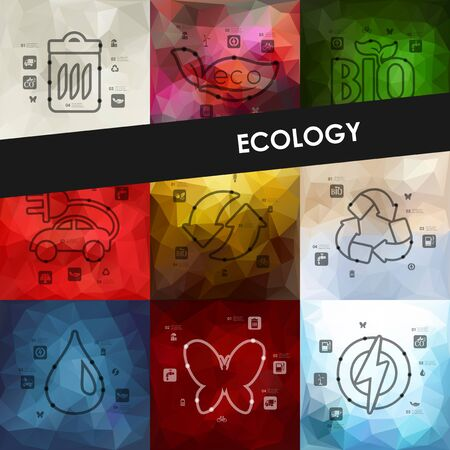 recycling plant: ecology timeline presentations with blurred unfocused background