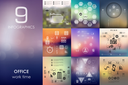 unfocused: office vector infographics with unfocused blurred background