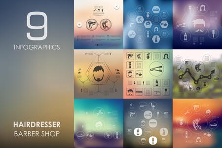 hair setting: barber shop vector infographics with unfocused blurred background