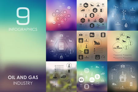 mining: oil and gas vector infographics with unfocused blurred background
