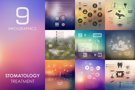 stomatology vector infographics with unfocused blurred background