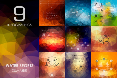 water sport: water sports vector infographics with unfocused polygonal background