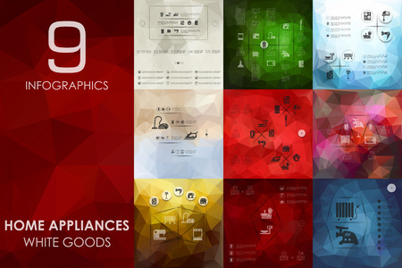 household appliances: household appliances vector infographics with unfocused polygonal background