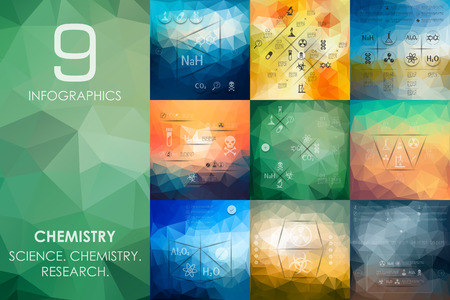 bunsen burner: chemistry vector infographics with unfocused polygonal background