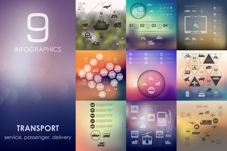 public transport: transport vector infographics with unfocused blurred background Illustration
