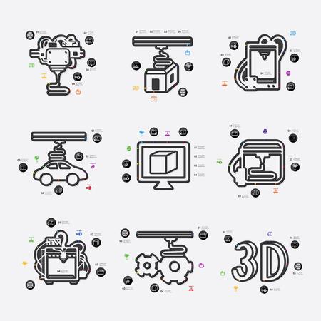 d data: three d printer line infographic illustration. Fully editable vector file