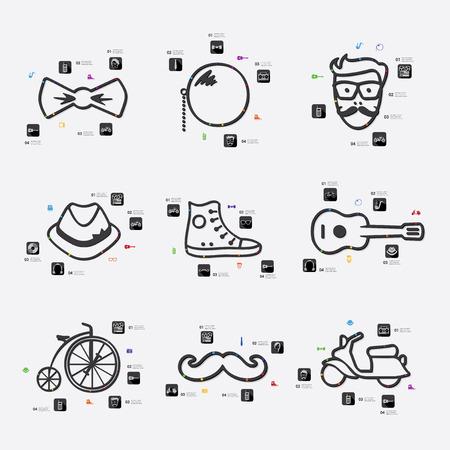 admirer: hipster line infographic illustration. Fully editable vector file Illustration