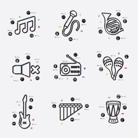 fully editable: music line infographic illustration. Fully editable vector file
