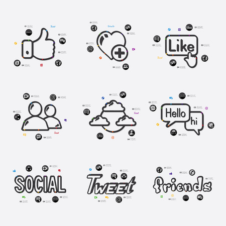 social networking: social network line infographic illustration. Fully editable vector file Illustration