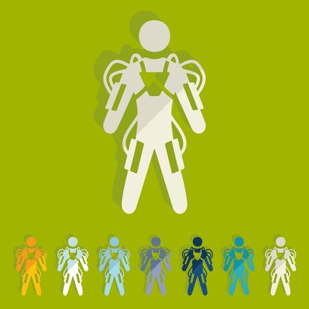 wojenne: Flat design: exoskeleton
