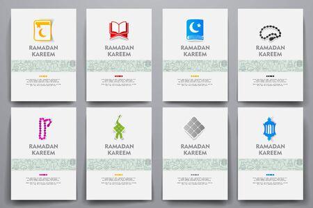 muslim prayer: Corporate identity vector templates set with doodles ramadan theme. Target marketing concept