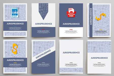 juror: Corporate identity vector templates set with doodles jurisprudence theme. Target marketing concept