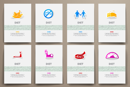 temperance: Corporate identity vector templates set with doodles diet theme. Target marketing concept