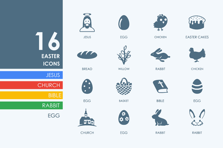easter sunday: easter vector set of modern simple icons Illustration