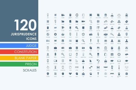 alibi: jurisprudence vector set of modern simple icons Illustration